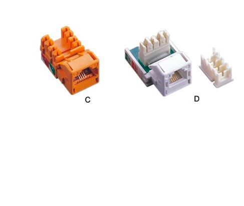 UTP 90 Degree CAT3 RJ11 Keystone Jack , Dual IDC Type RJ45 Modular Jack CAT 3