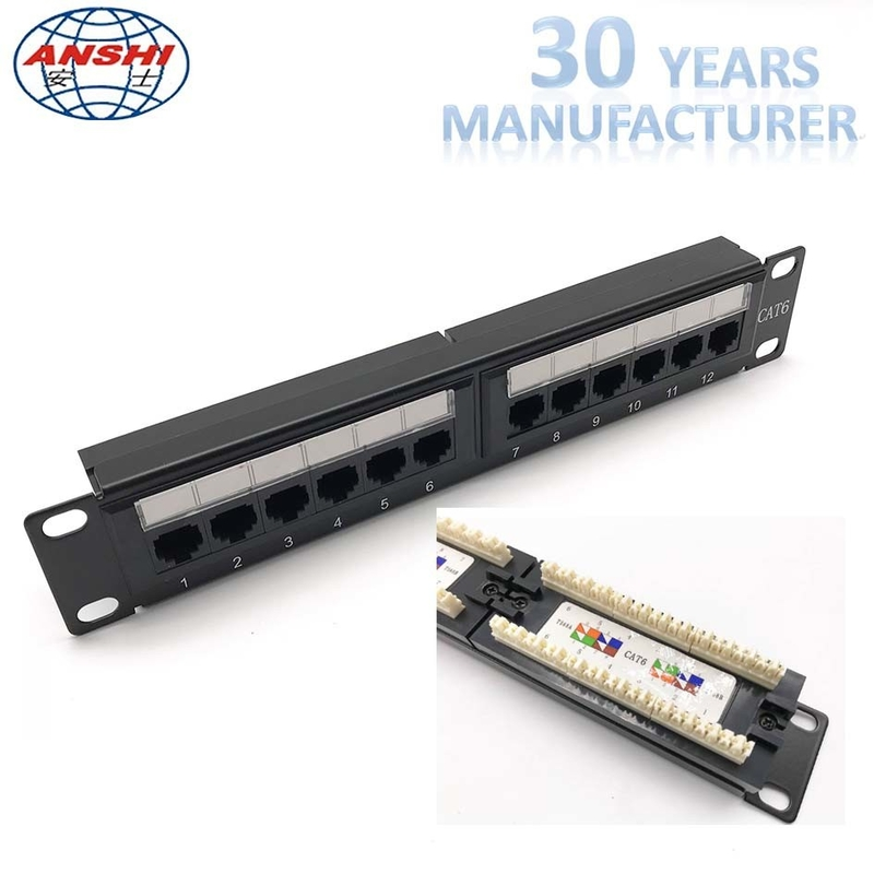 1U 10'' Inch 12 Port CAT6 UTP Rack Mount Patch Panel 110 IDC Type