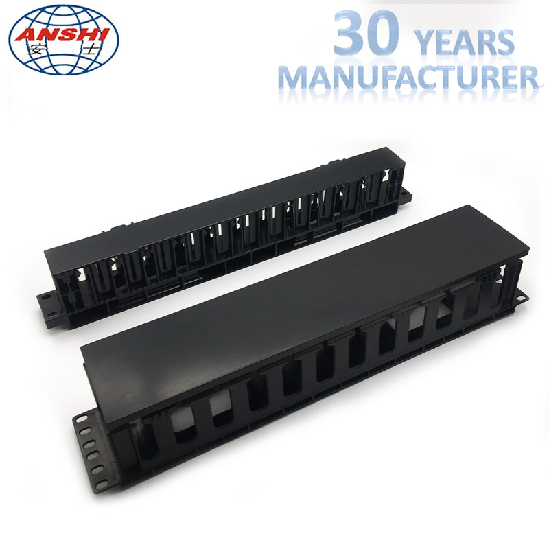 Plastic Networking Horizontal Cable Manager 19 Inch 2u 12 Ports Rack Mount
