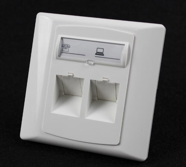 Germany Type 86*86 45 Degree Wall Mount Socket Double Port Face Plate With Shuttle